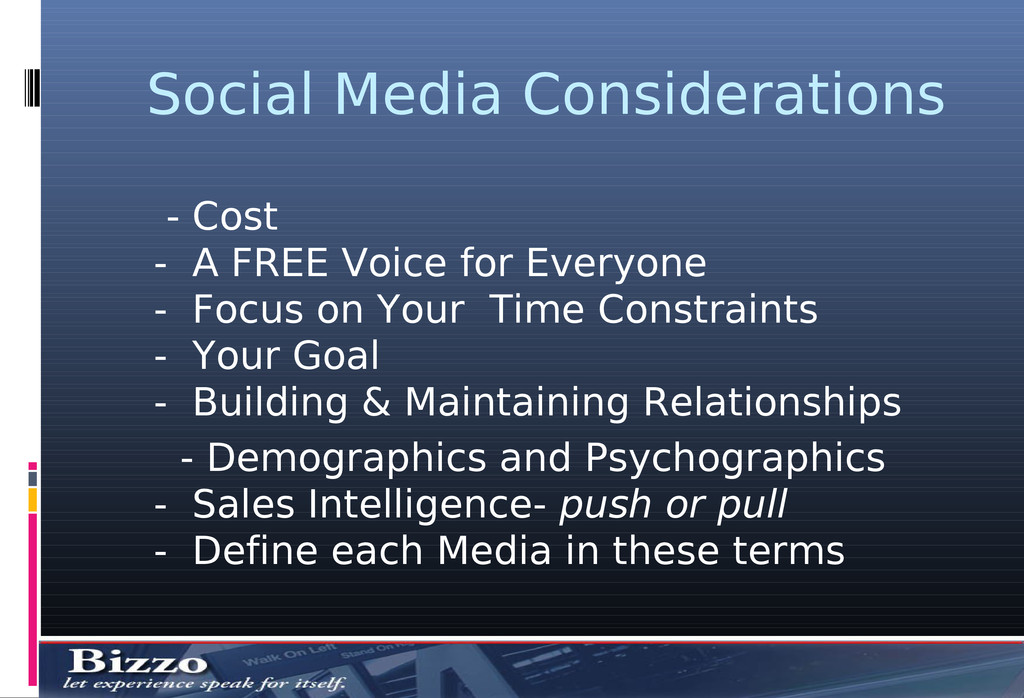 Social Media Considerations - Cost - A FREE Voi...