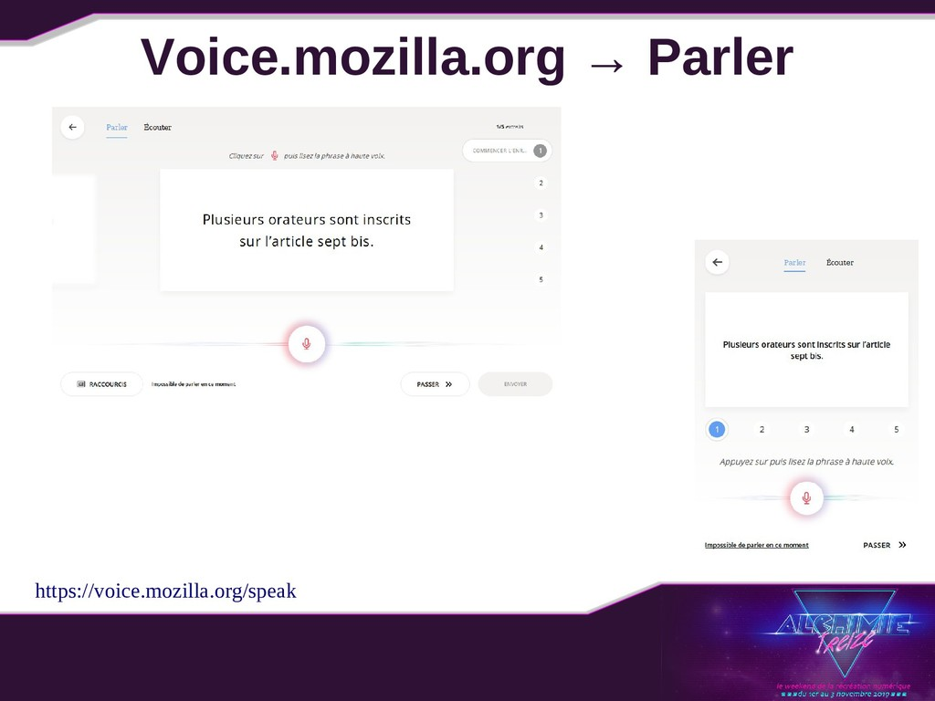 Voice.mozilla.org → Parler https://voice.mozill...