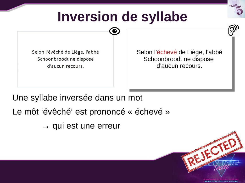 Inversion de syllabe Une syllabe inversée dans ...