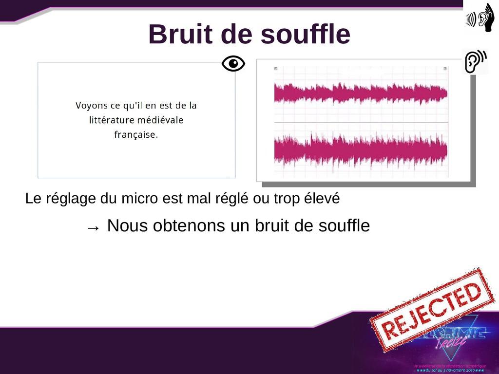 Bruit de souffle Le réglage du micro est mal ré...