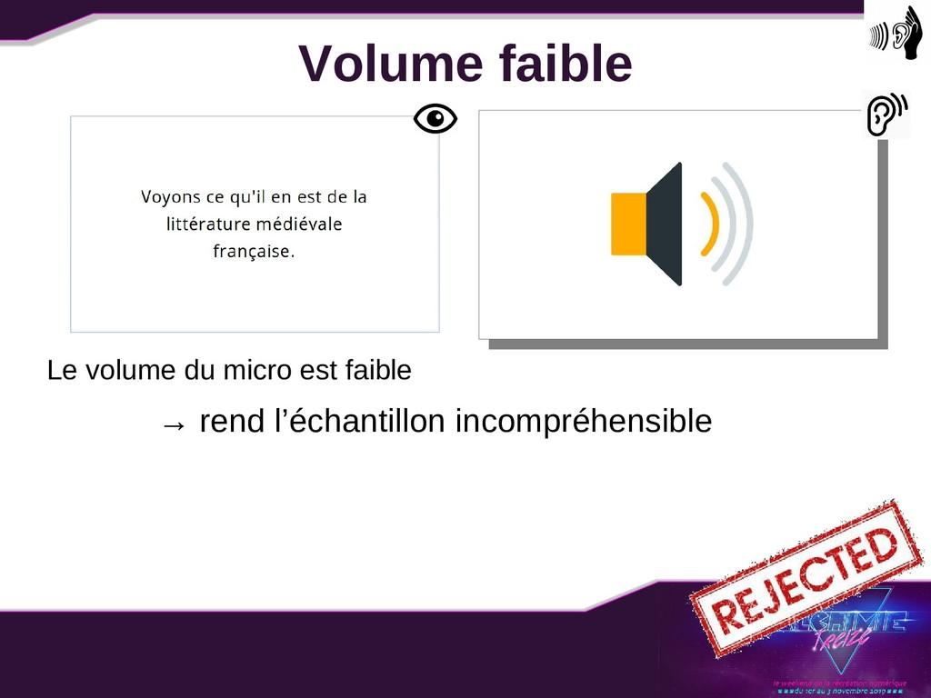 Volume faible Le volume du micro est faible → r...