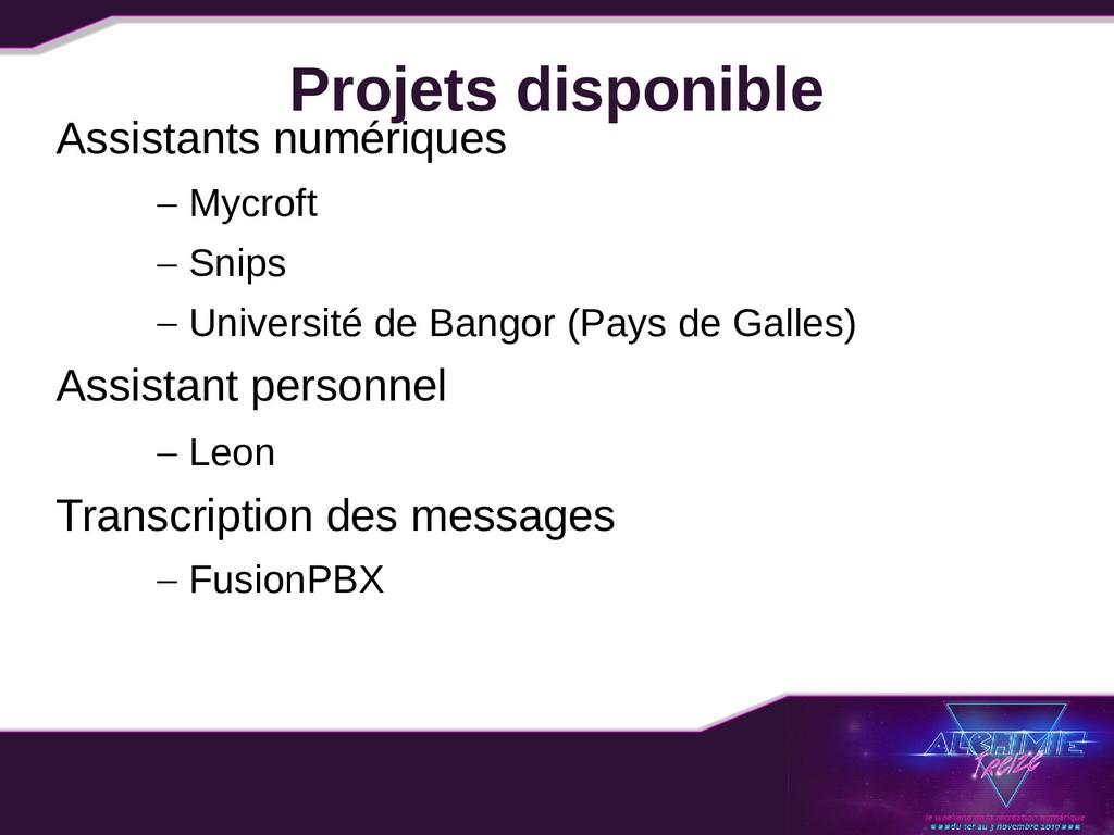 Projets disponible Assistants numériques – Mycr...