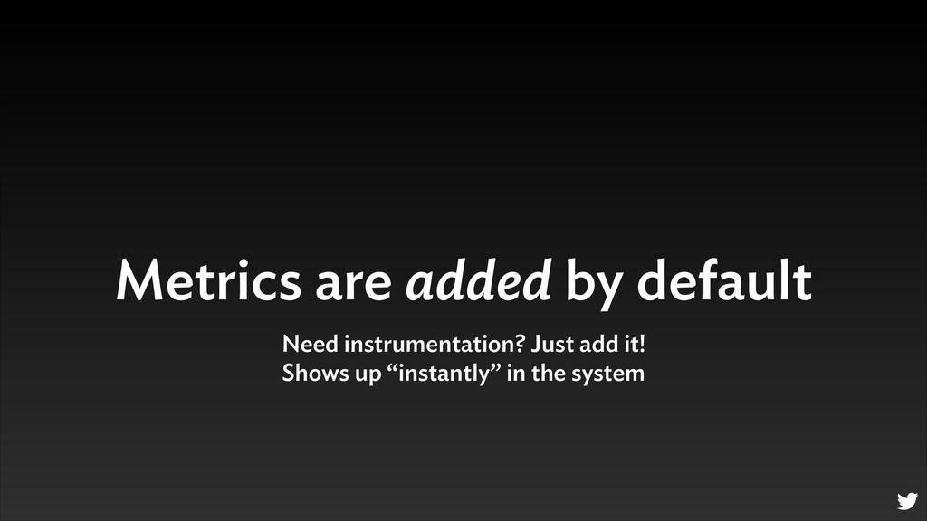 Metrics are added by default Need instrumentati...