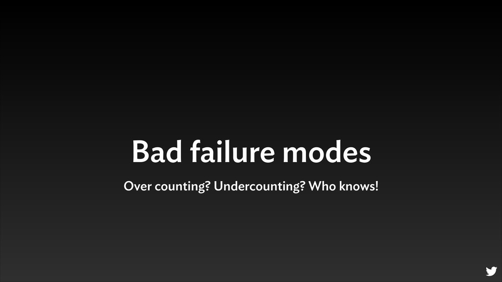 Bad failure modes Over counting? Undercounting?...