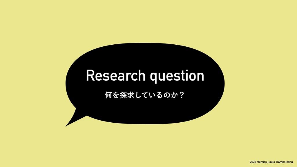 2020 shimizu junko @4mimimizu Research question...