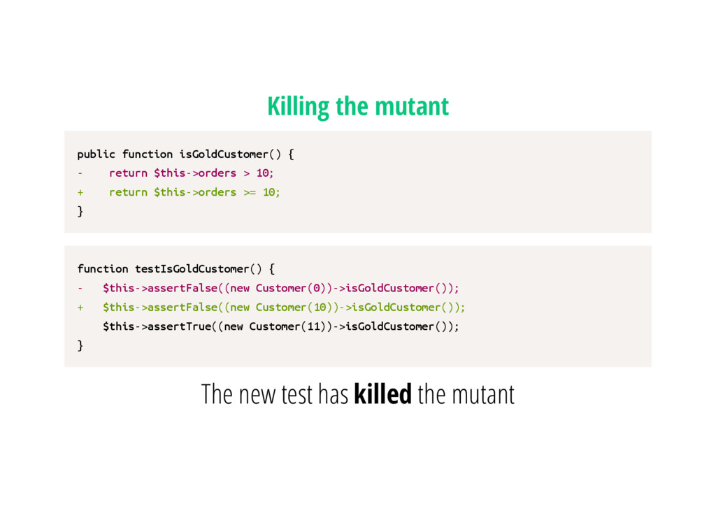 Killing the mutant p u b l i c f u n c t i o n ...