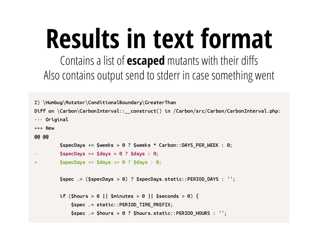 Results in text format Contains a list of escap...