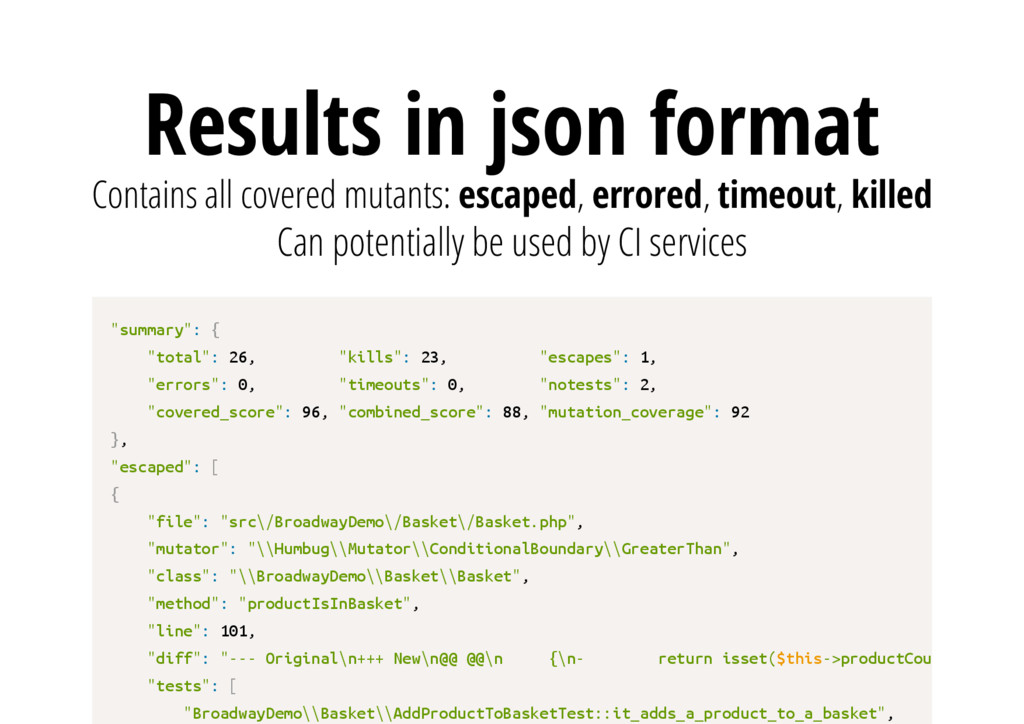 Results in json format Can potentially be used ...