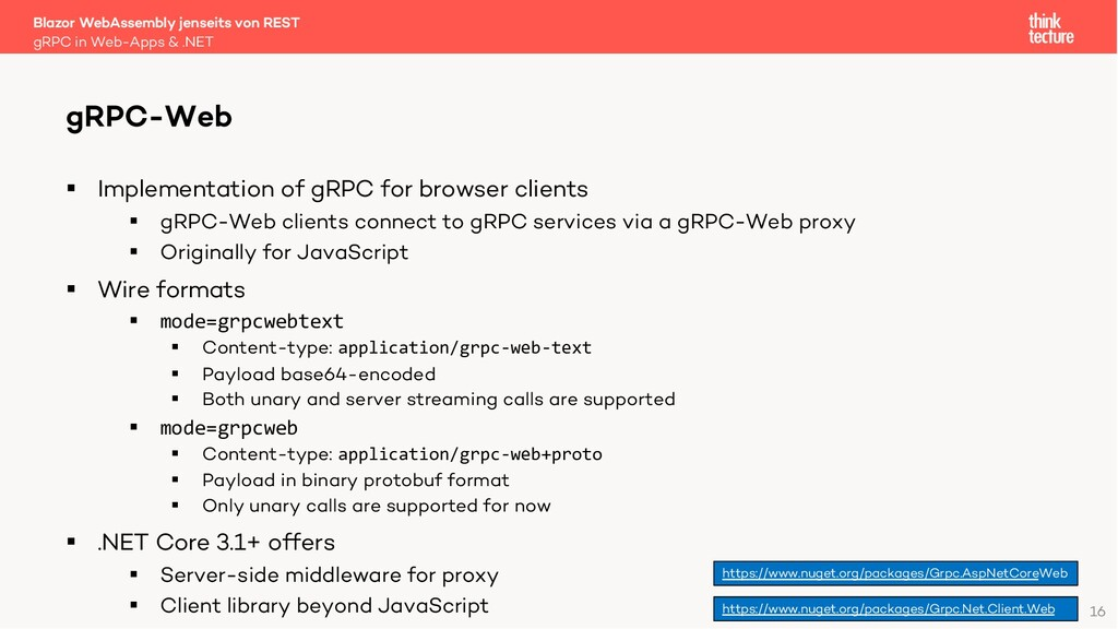 16 § Implementation of gRPC for browser clients...