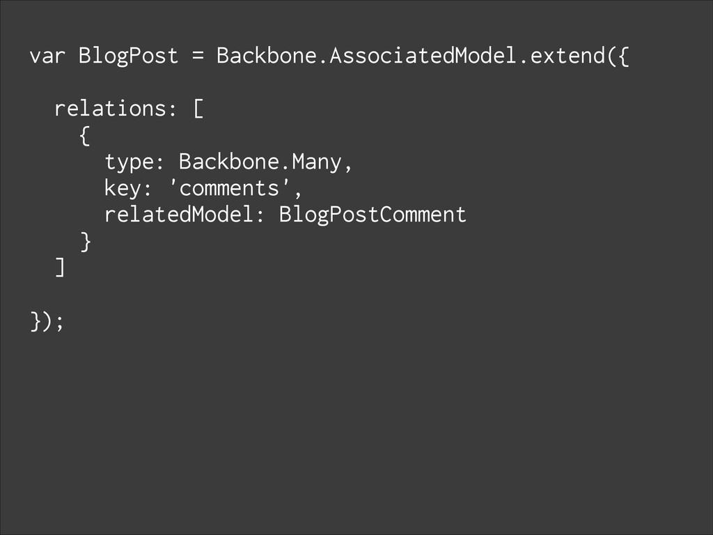 var BlogPost = Backbone.AssociatedModel.extend(...