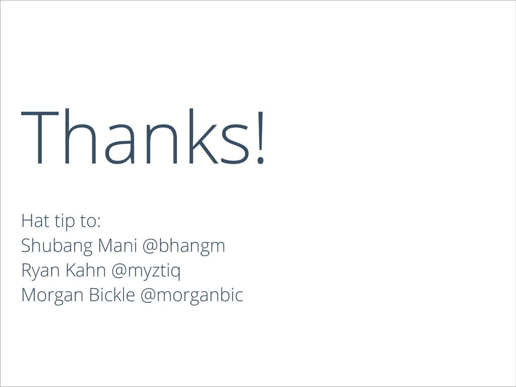 Thanks! Hat tip to: Shubang Mani @bhangm Ryan K...