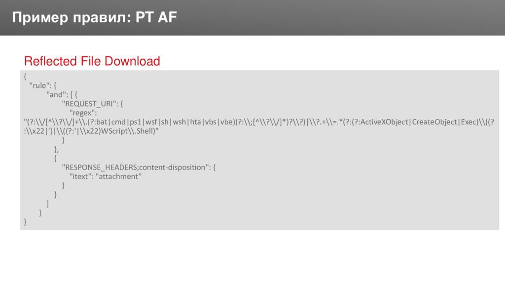 Заголовок Пример правил: PT AF Reflected File D...