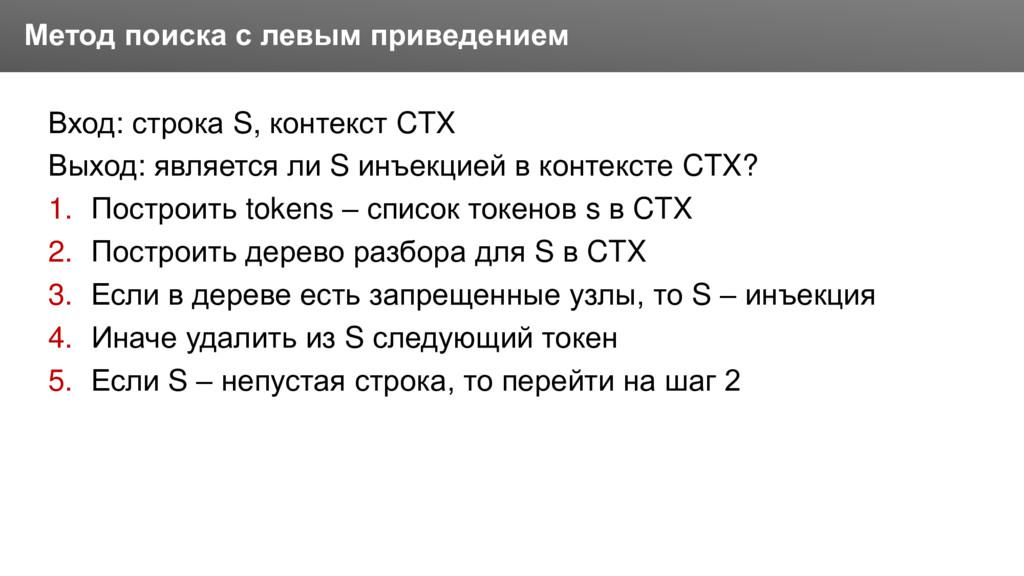 Заголовок Вход: строка S, контекст CTX Выход: я...