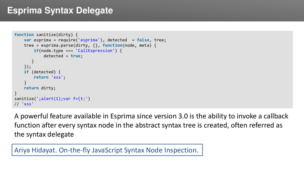 Заголовок Esprima Syntax Delegate function sani...