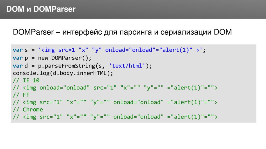 Заголовок DOM и DOMParser DOMParser – интерфейс...