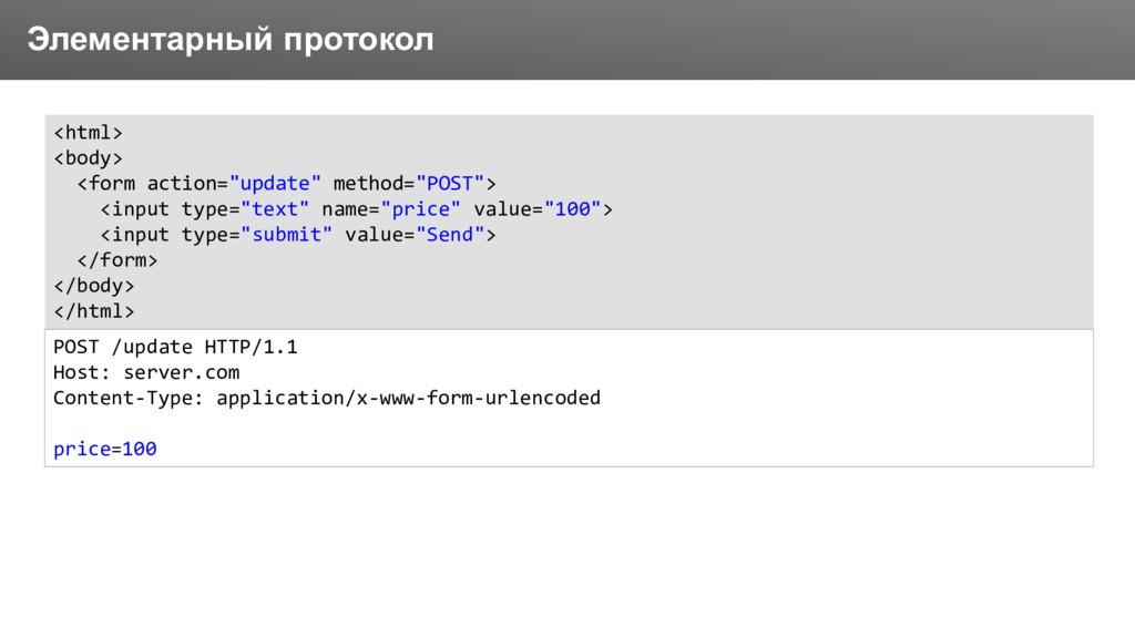 Заголовок Элементарный протокол <html> <body> <...