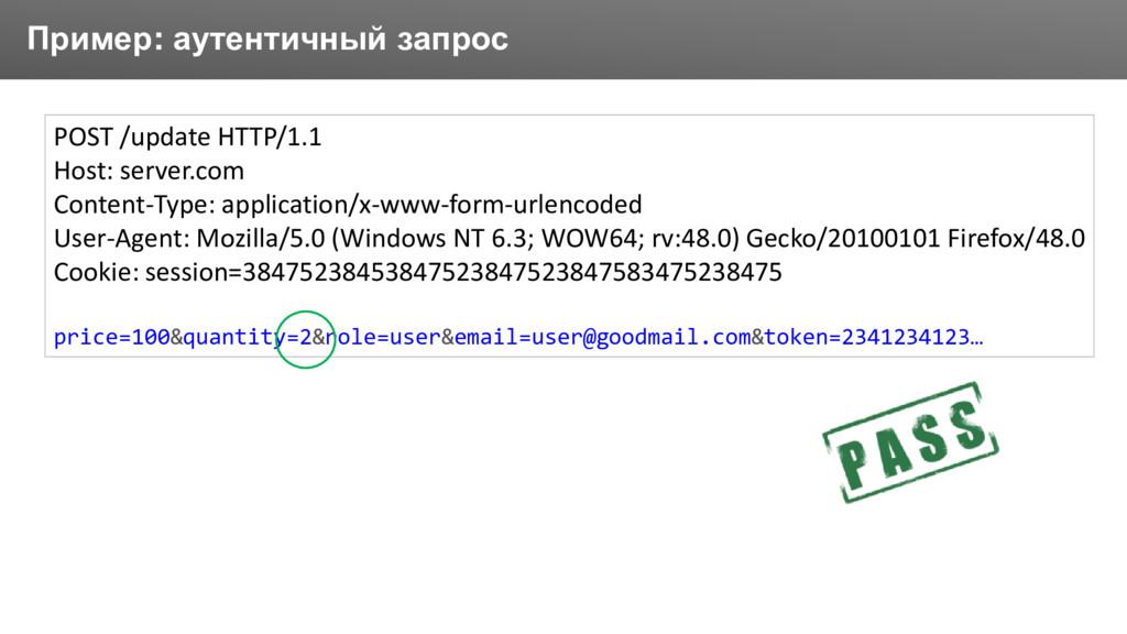 Заголовок Пример: аутентичный запрос POST /upda...