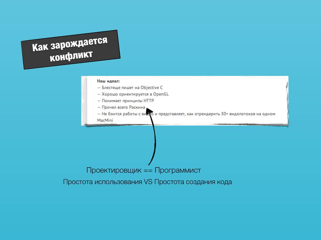Как зарождается конфликт Проектировщик == Прогр...