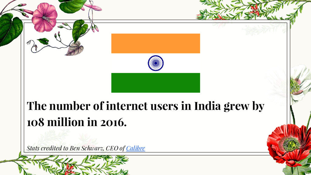 The number of internet users in India grew by 1...