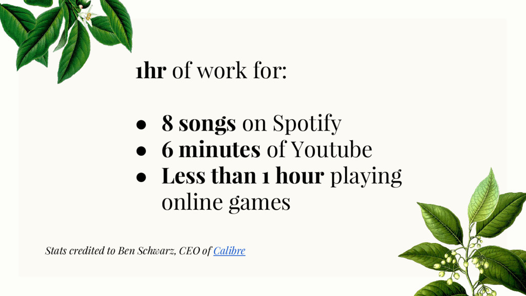 1hr of work for: ● 8 songs on Spotify ● 6 minut...