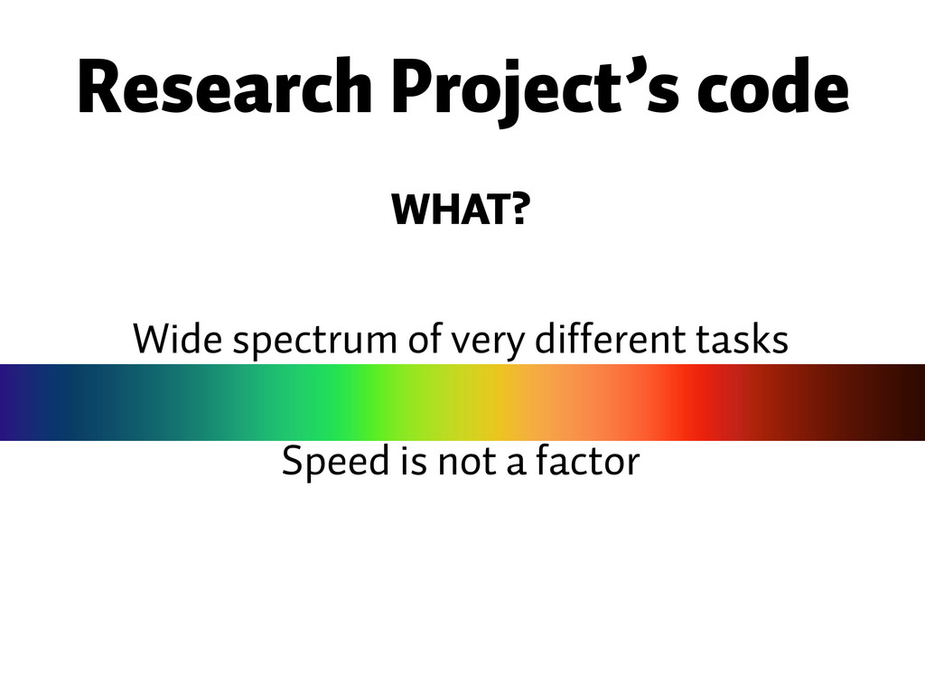 Wide spectrum of very different tasks Research ...