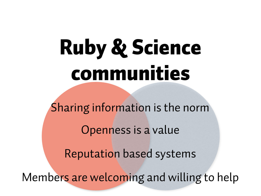 Ruby & Science communities Sharing information ...