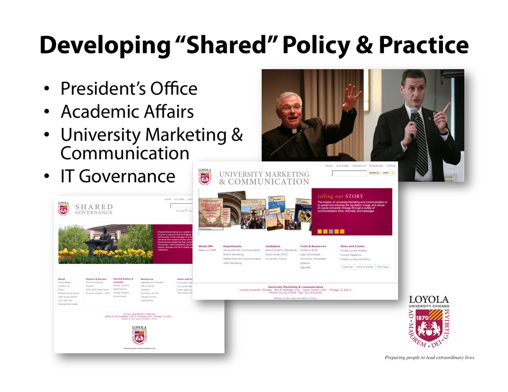 "Developing ""Shared"" Policy & Practice •  Presid..."