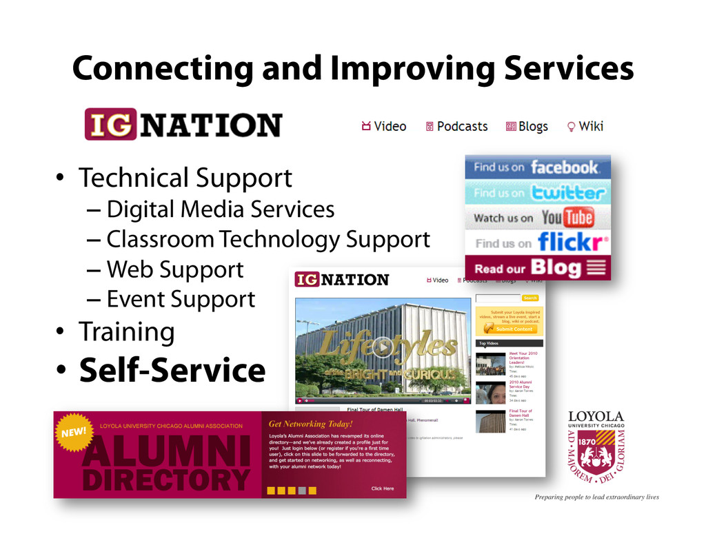 Connecting and Improving Services •  Technical ...