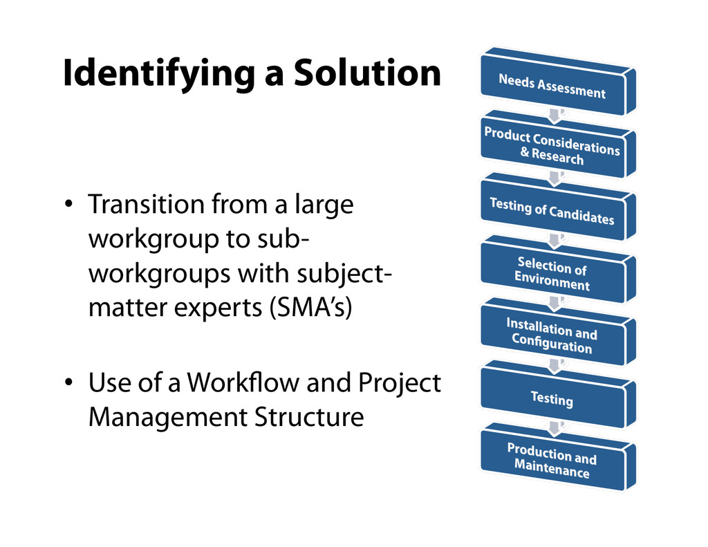 •  Transition from a large workgroup to sub- wo...
