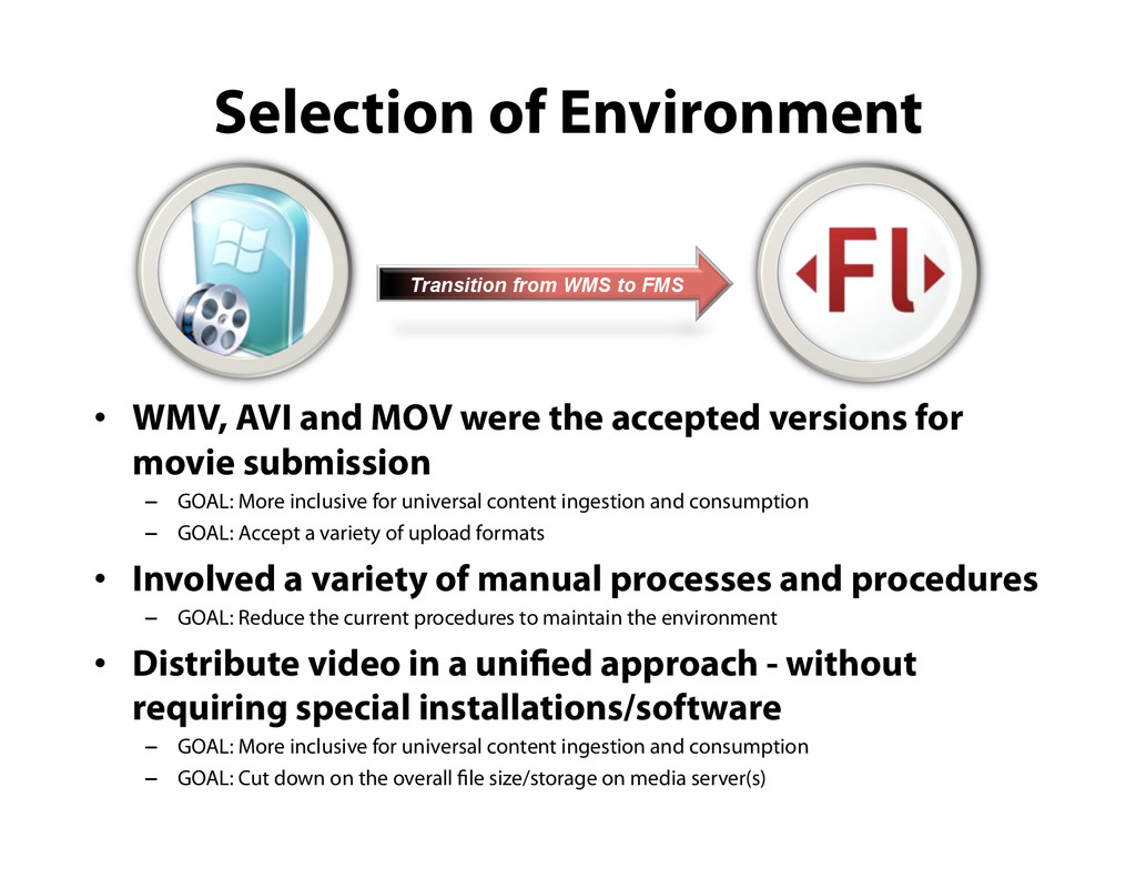 Selection of Environment •  WMV, AVI and MOV we...