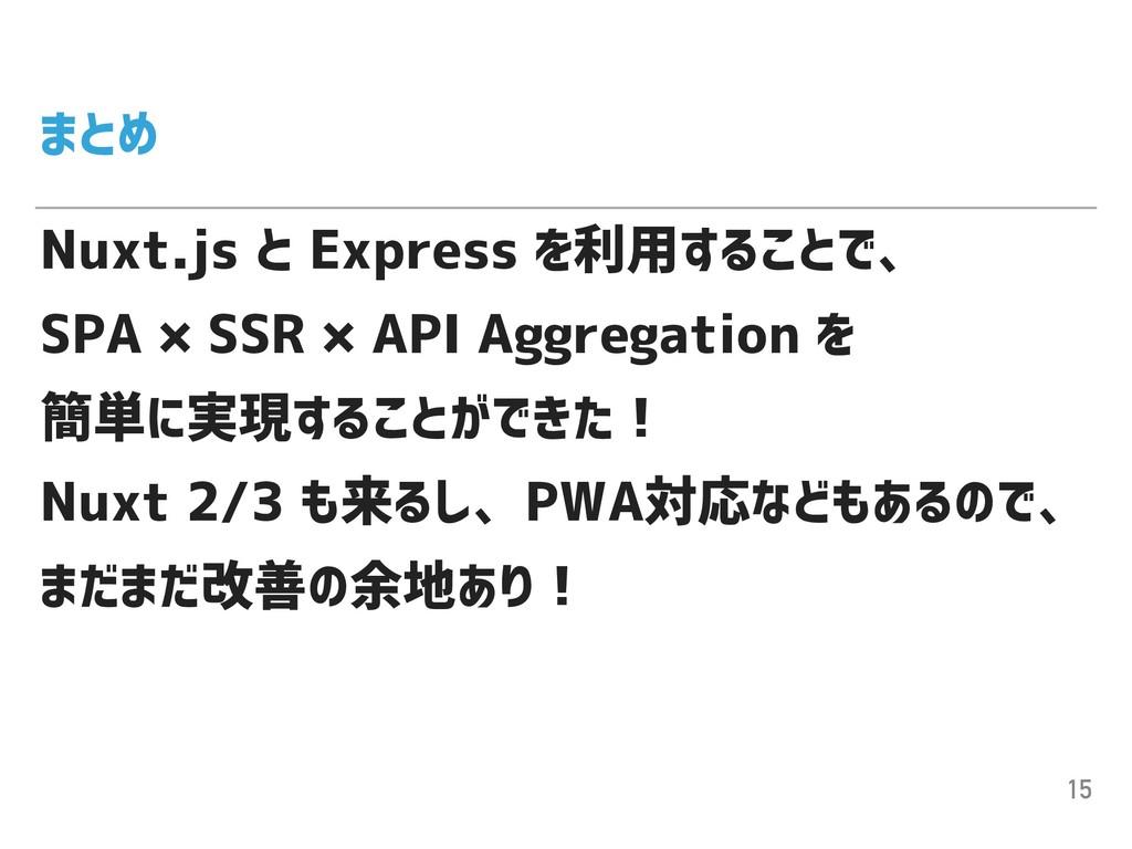 まとめ Nuxt.js と Express を利用することで、 SPA × SSR × API...