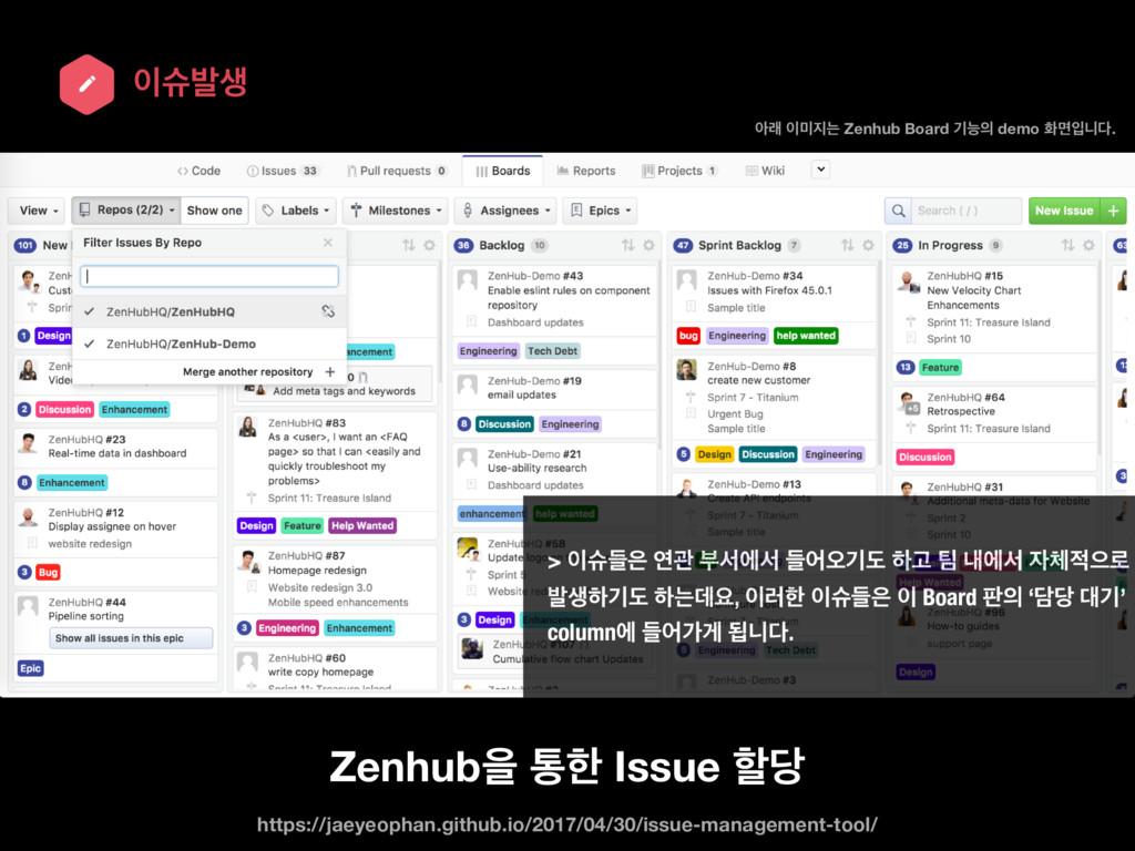 गߊࢤ Zenhubਸ ాೠ Issue ೡ ইې ח Zenhub Board ӝ...