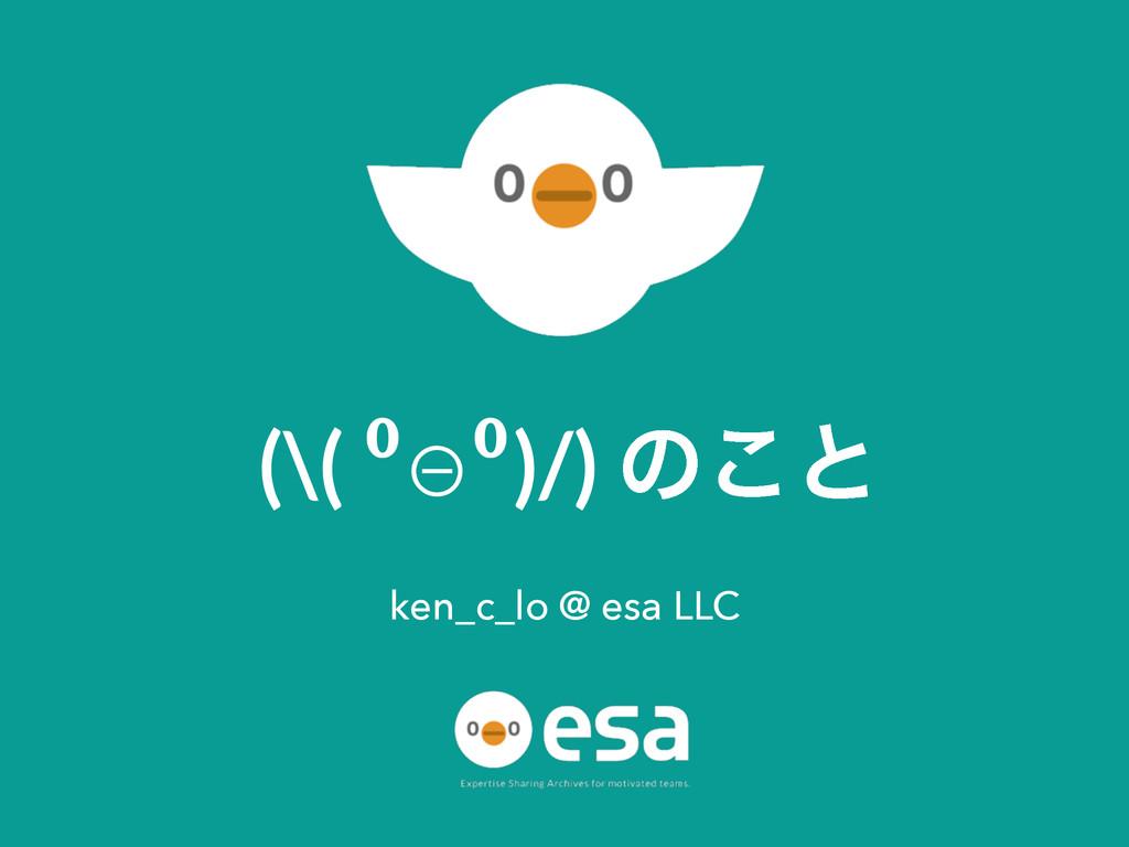 (\( ⁰⊖⁰)/) ͷ͜ͱ ken_c_lo @ esa LLC