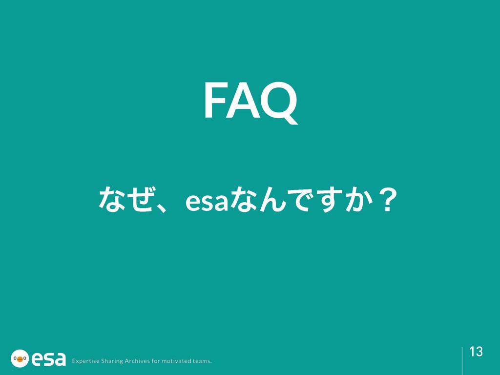 FAQ 13 ͳͥɺesaͳΜͰ͔͢ʁ