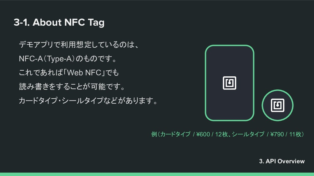 3-1. About NFC Tag デモアプリで利用想定しているのは、 NFC-A(Type...