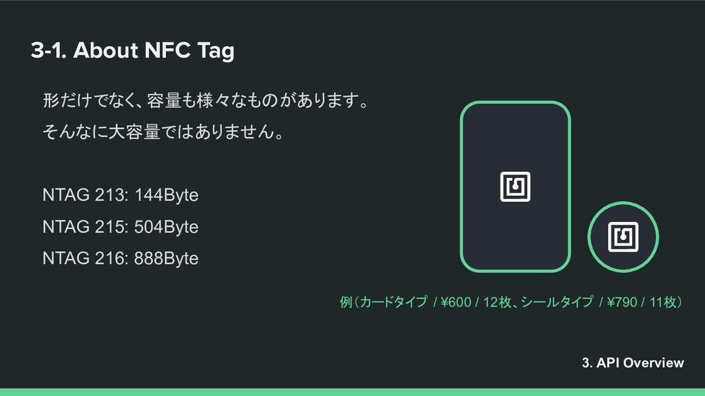 3-1. About NFC Tag 形だけでなく、容量も様々なものがあります。 そんなに大容...