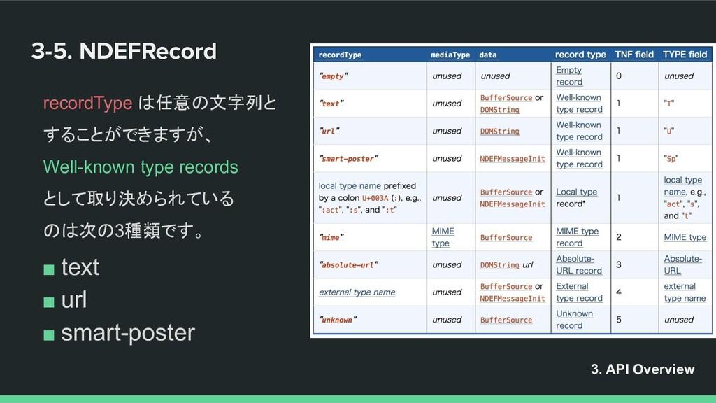 3-5. NDEFRecord recordType は任意の文字列と することができますが、...