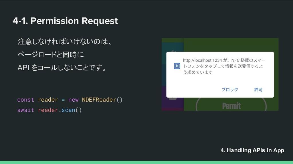 4-1. Permission Request 注意しなければいけないのは、 ページロードと同...