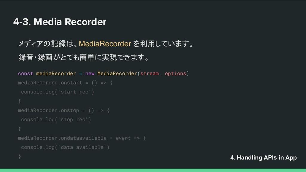 4-3. Media Recorder 4. Handling APIs in App メディ...