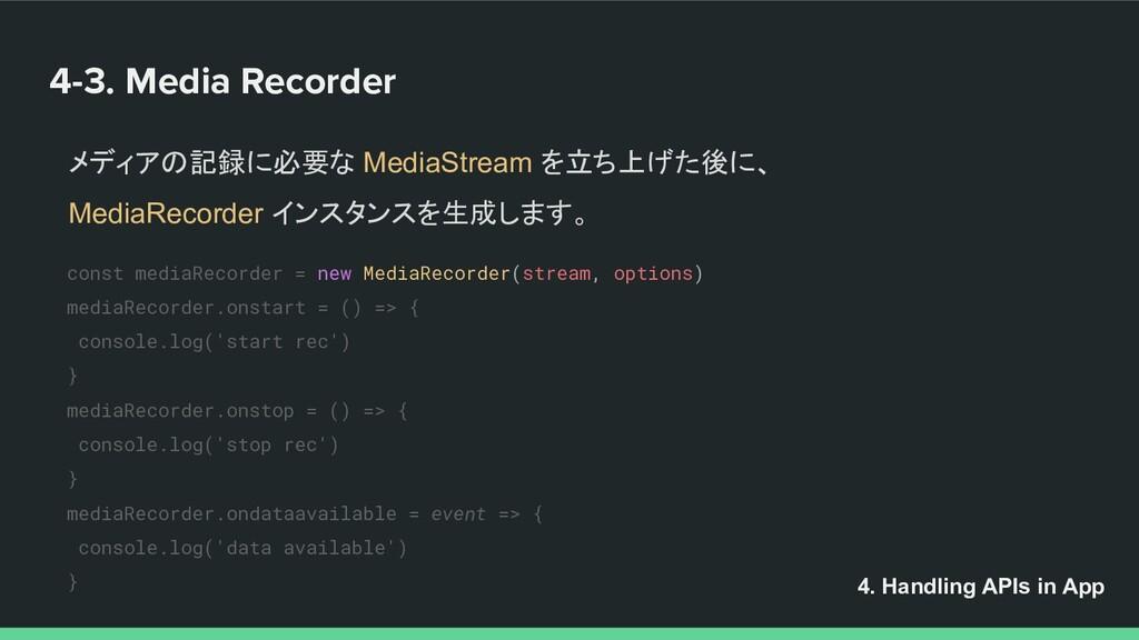 4-3. Media Recorder メディアの記録に必要な MediaStream を立ち...