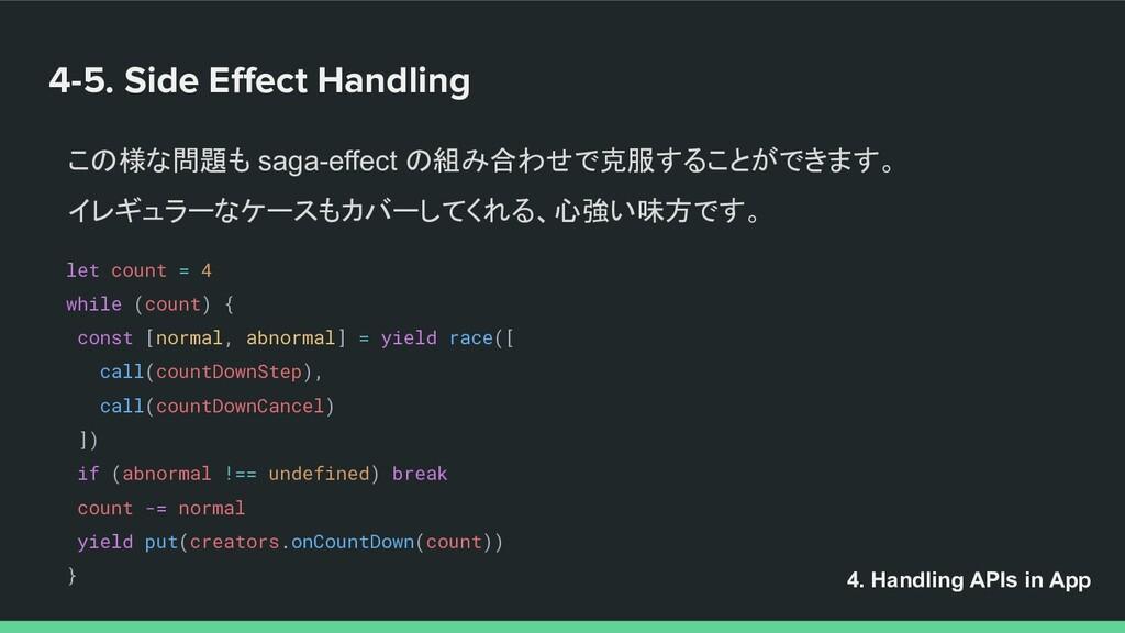 4-5. Side Effect Handling この様な問題も saga-effect の組...