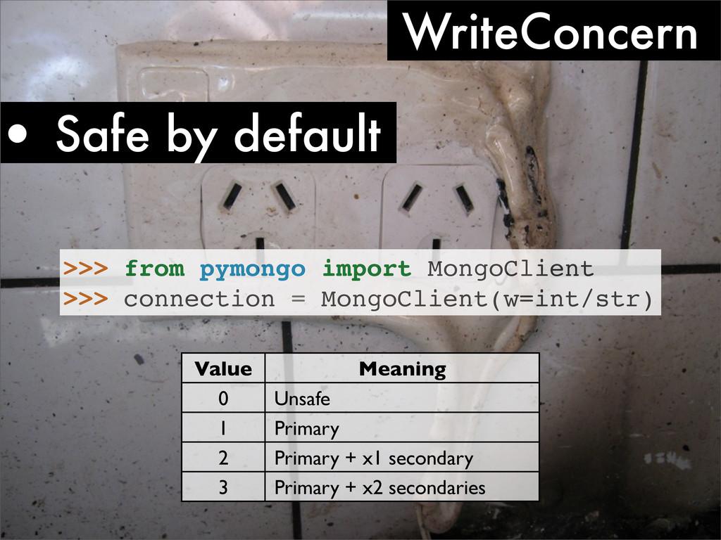 • Safe by default WriteConcern >>> from pymongo...