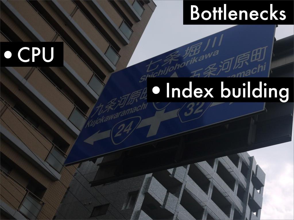 Bottlenecks •CPU •Index building