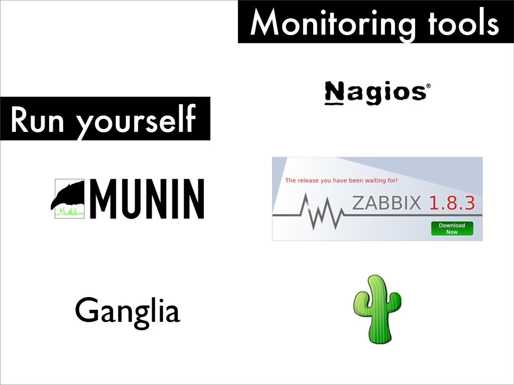 Monitoring tools Run yourself Ganglia