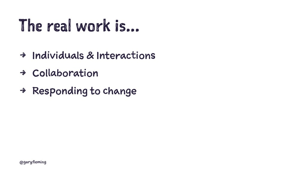 The real work is... 4 Individuals & Interaction...