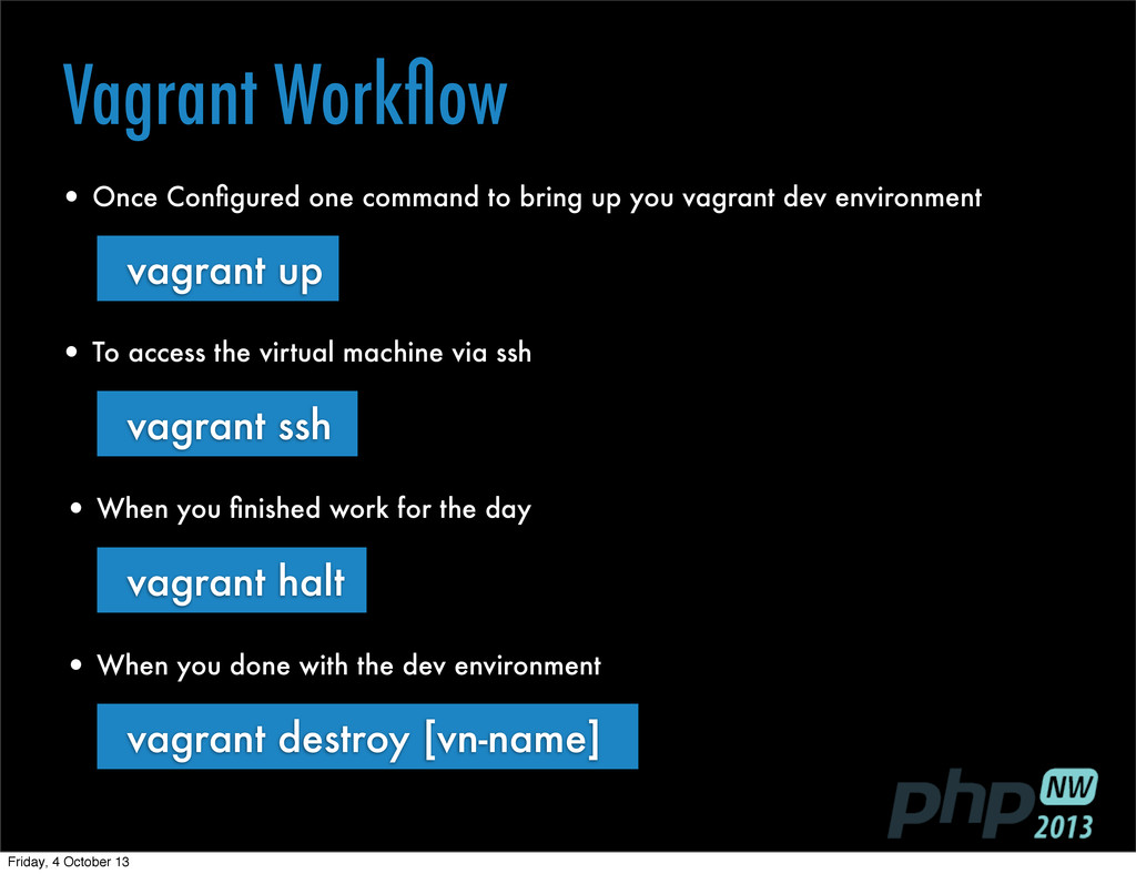 Vagrant Workflow • When you done with the dev en...