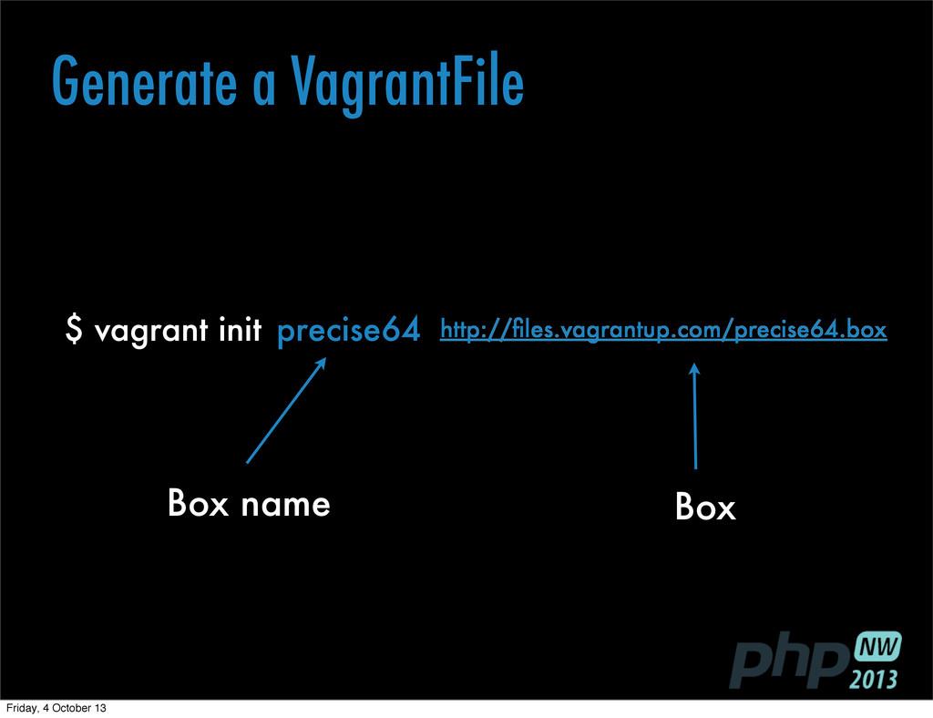 Generate a VagrantFile $ vagrant init precise64...