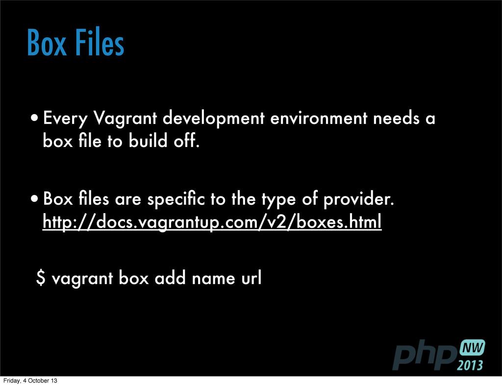 Box Files •Every Vagrant development environmen...