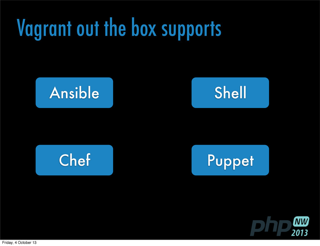 Puppet Chef Ansible Shell Vagrant out the box s...
